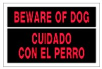Sign 8x12 'Beware Of Dog' Blgl