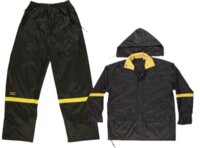 Rain Suit 3pc Black Nylon 1x