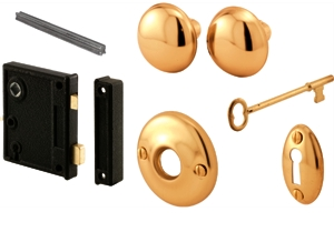 Lock Set Vertical Trim Brass