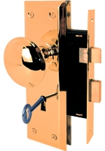 Mortise Lock Set Keyed Brs Knb