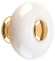 "Knob 1-1/4"" White Ceramic/Bb"