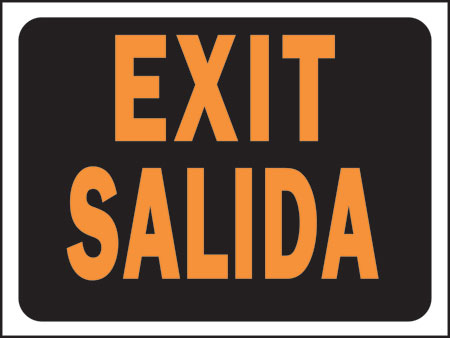 "Sign ""exit""bilingual"
