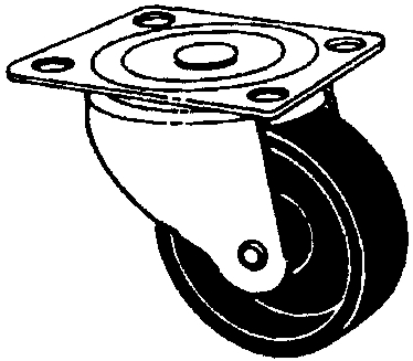 "Caster 2"" Swivel-Plate Poly"