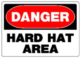 Sign 10x14 'Danger Hard Hat'