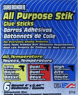 "Glue Stick All-Temp Reg 4""6p"