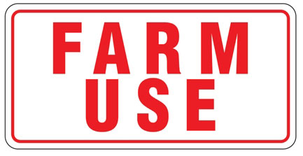 "Sign ""farm Use"" 6"" X 12"" Alum"