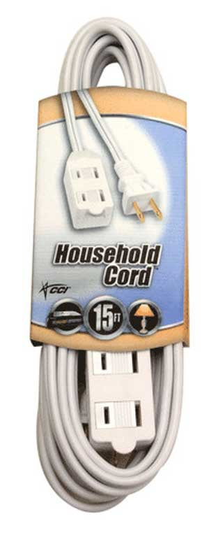 Ext.Cord 15' Cube Tap White