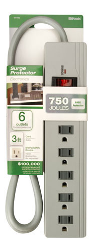 Surge Strip 6-Outlet 750 Joule