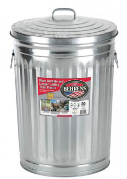 Trash Can 20-Gal Galv W/Lid