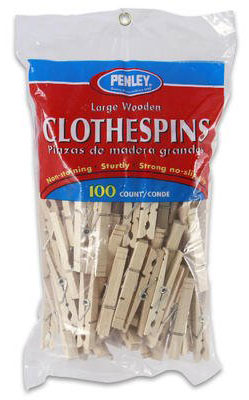 Clothespin Wood W/Spr 100/Pk
